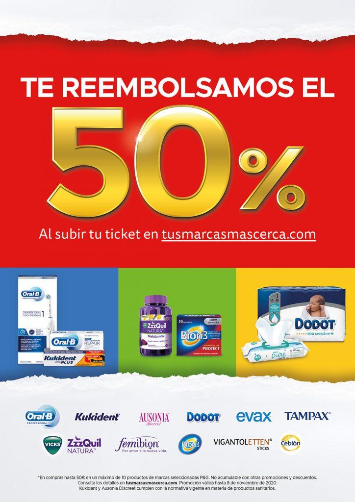 Poster de descuento de P&G del 50% en alguna de sus marcas de farmacia